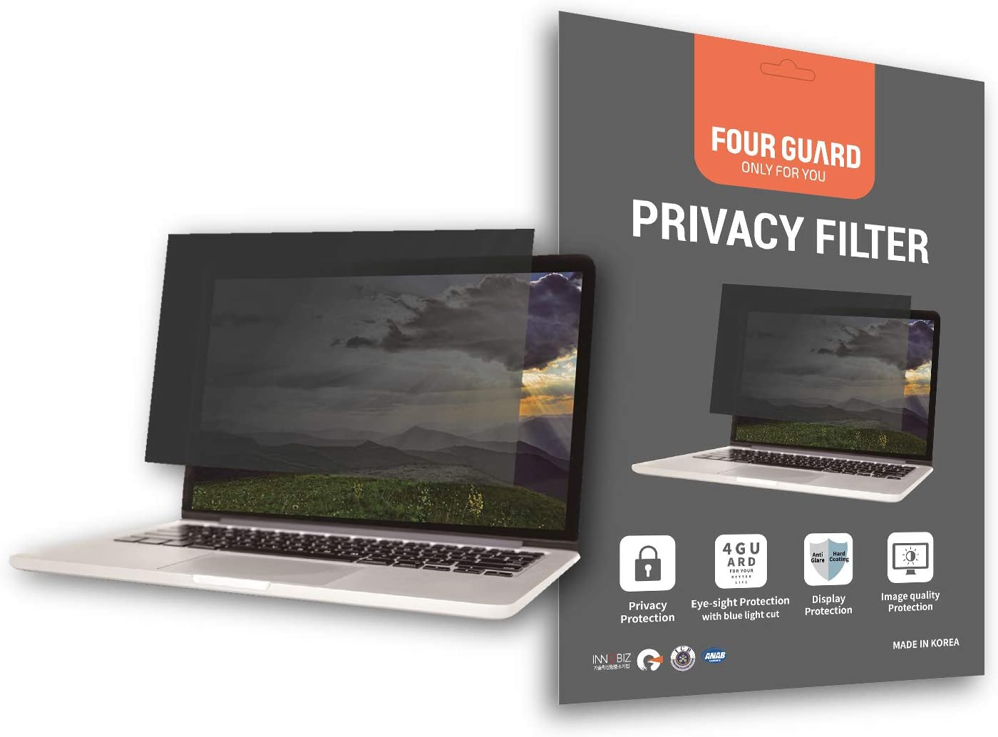 Four Guard Privacy Screen Filter for Laptop-Notebook 15.6 Inch 16:9 Widescreen - Privacy Protection Blue Light Reduction Anti Glare Anti Scratch Protector Film