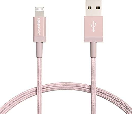 Amazon Basics New Release Nylon USB-A to Lightning Cable Cord, MFi Certified Charger for Apple iPhone, iPad,Rose Gold, 3-Ft