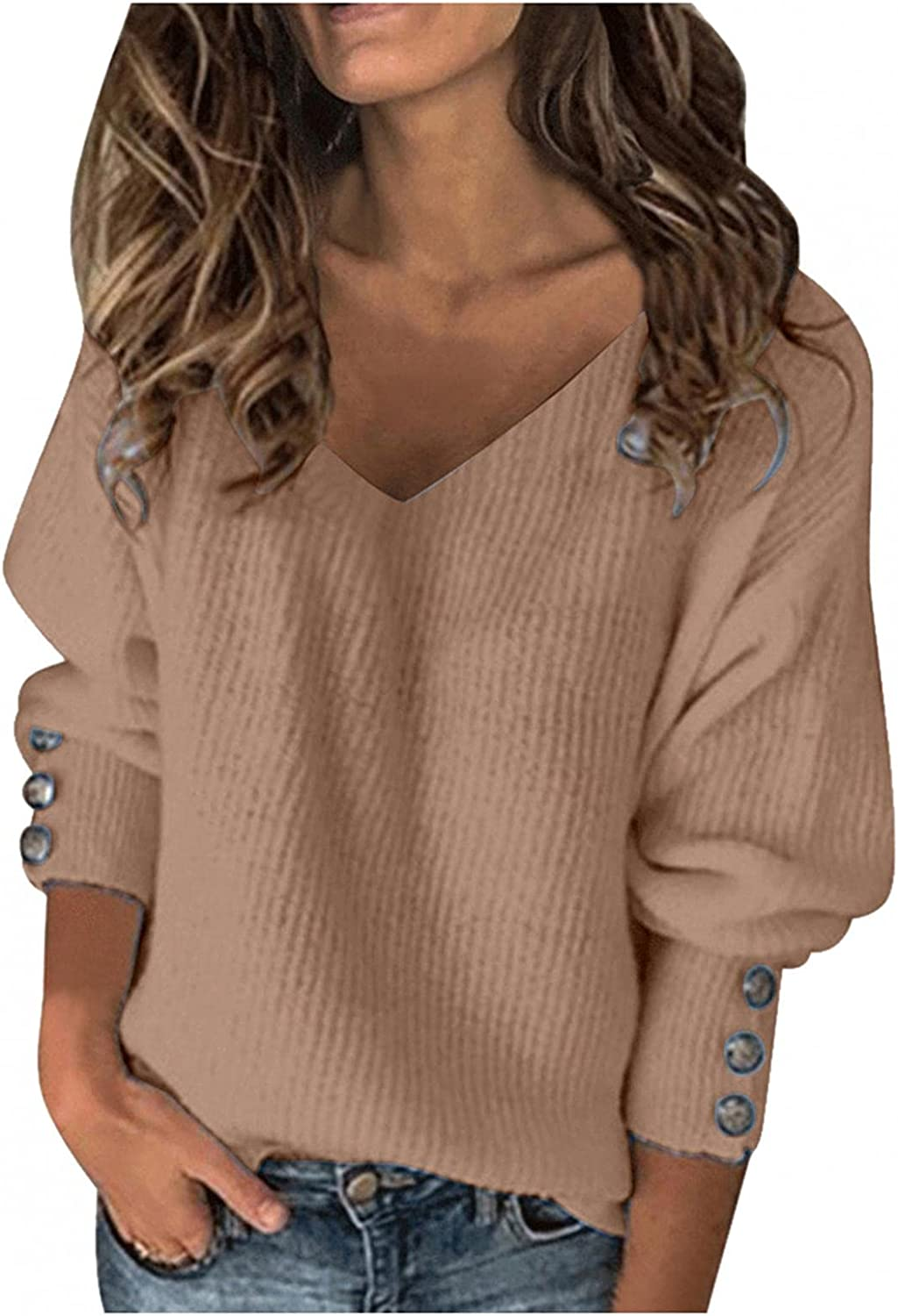 Pullover Sweaters for Women, Women's Fashion Long Sleeve Oversized Knitted Sweater V Neck Loose Pullover Jumper Tops