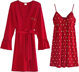 Two-Piece Nightdress, Women's Spring and Autumn Thin Cotton Nightdress, Casual Home wear, Soft and Comfortable, high-Quality Fabrics, (Color : Red, Size : XL)
