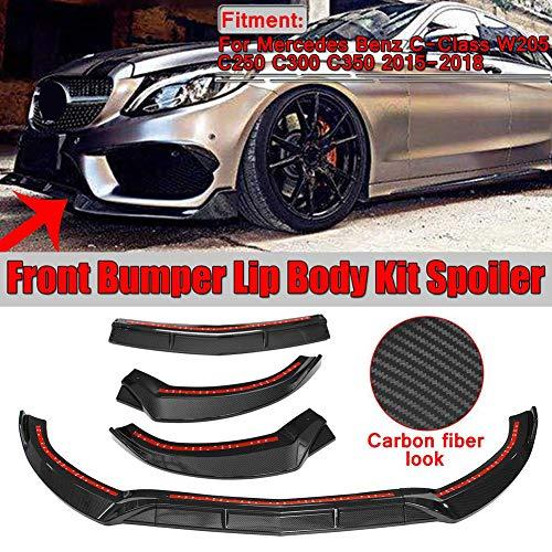 3 Stücke PP Auto Front Lip Chin Stoßstange Body Kits Deflector Spoiler Splitter Diffusor Außen Für Benz C-klasse W205 C250 C300 C350 2015-2018
