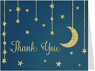 Twinkle Little Star Thank You Cards Star and Moon Over The Moon Theme Folding Notes Greeting Cards Navy Blue Gold Glitter Design Make A Wish Bright Night Boys Girls Gender Neutral (24 Count)