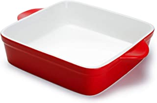 Sweese 514.104 Porcelain Baking Dish, 8 x 8 inch Baker, Square Brownie Pan with Double Handle, Red