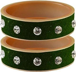 Vidhya Kangan Bangle Set for Women (Dark Green) (bans13617-2.12)