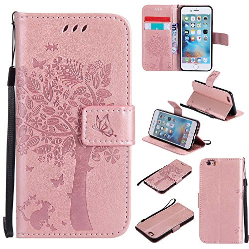 C-Super Mall-UK Apple iPhone 7 Case, Embossed Tree Cat Butterfly Pattern PU...