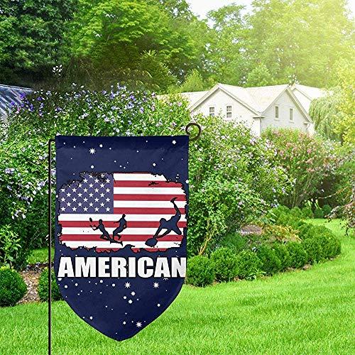 EW-OL American Flag Football Rugby Garten Flagge Lustige Feier Flagge Home Flagge 12,5 X 18 Zoll Filet