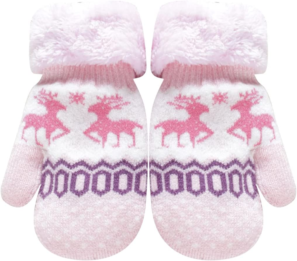 Licogel Christmas Winter Mittens Elk Warm Mittens Knit Mittens with Lanyard for Kids Portable Party Festive Adorable