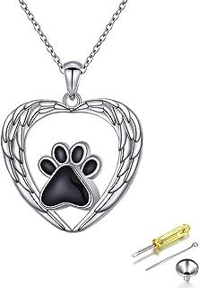 JZMSJF 925 قلادة مستديرة من الفضة الإسترليني عيار 925 لتذكير الرماد التذكاري الملاك القلب الكلب القط المخالب قلادة مجوهرات...