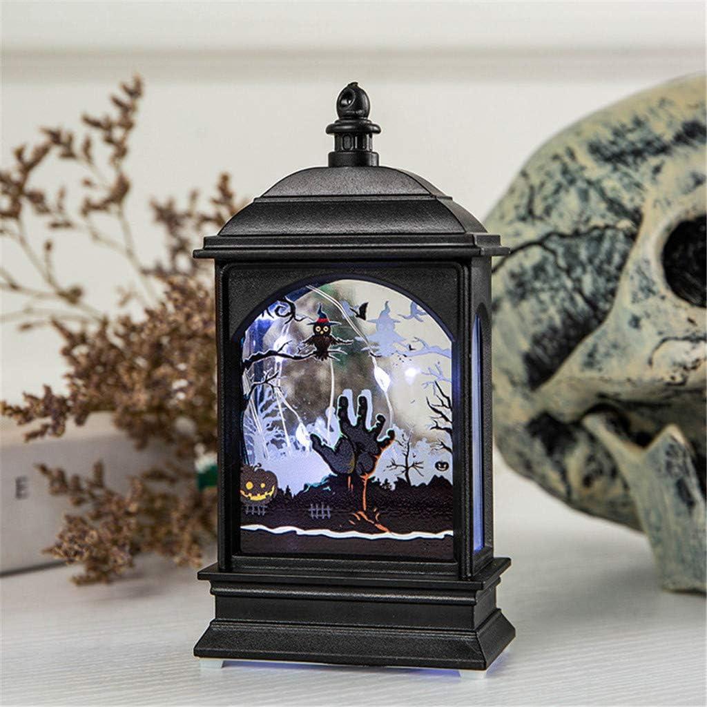 SilenceID Lanterne rétro pour Halloween - Lanterne de Citrouille - Éclairage Vintage - Décoration de fête - Décoration de Maison - avec Paillettes EIN C