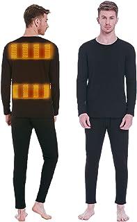 Nienyu Man Fleece Warmer Underwear Set in Winter, USB Battery Powered Electric Heated Warmer Clothes, for Outdoor Skiing