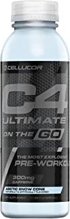 Cellucor C4 Ultimate On The Go Zero Sugar Pre Workout Drink, Energy Drink + Beta Alanine, Snow Cone, 11.66 Ounce Bottles (Pack of 12)