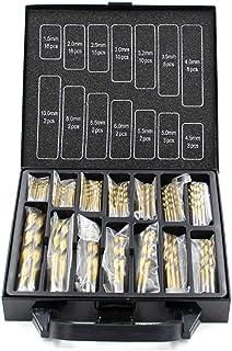 maitra Snabb borrning 99PCS Titaniumbelagd Twist Drill Bit Set 1.5mm-10mm Heights Speed Steel Borra med låda för trälege...