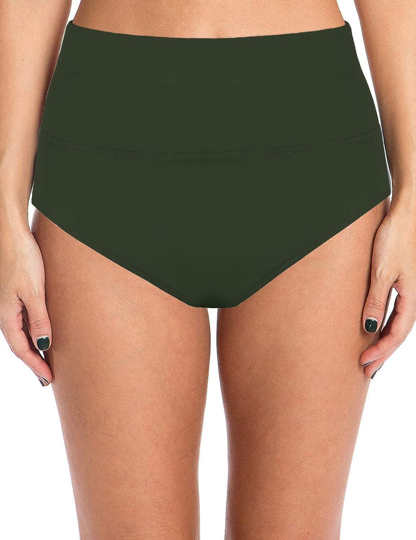 URqvick Women's Solid Color High Waisted Bikini Bottom Shorts Pl