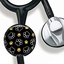 Paw Prints Stethoscope Tag Personalized,Nurse Doctor Stethoscope ID Tag Customized, Medical Stethoscope Name Tag with Writable Surface-Black