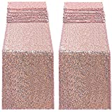 2pcs Rose Gold Sequin Table Runners,12 X 108 Inch Glitter Rose Gold Table Runner for Wedding Birthday Bachelorette Baby Shower Party Supplies