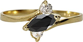 CHOOSE YOUR COLOR 14k Yellow Gold Sideways Marquise Ring Simple Vintage Band