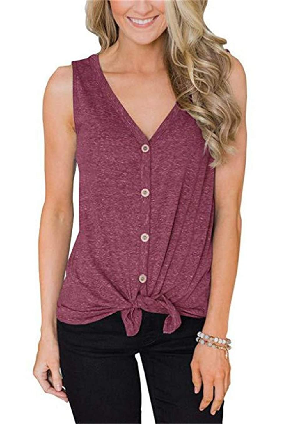 Women's Summer Casual Sleeveless Button Down Tie Knot Loose Fit Plain Shirts Tops