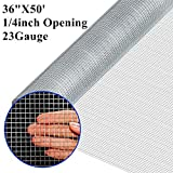 Amagabeli 1/4 Hardware Cloth 36 x 50 23Gauge Galvanized After Welded Wire Metal Mesh Roll Vegetables Garden Rabbit Fencing Snake Fence for Chicken Run Critters Gopher Racoons Rehab Cage Wire Window