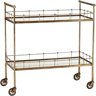 Kathy Kuo Home Whitty Hollywood Regency Vintage Brass Antique Mirror Bar Cart