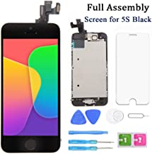 Screen Replacement for iPhone 5s Black 4 Inch LCD Display Full Assembly Touch Digitizer A1453 A1457 A1518 A1528 A1530 with Home Button, Front Camera, Proximity Sensor, Earpiece and Screen Protector