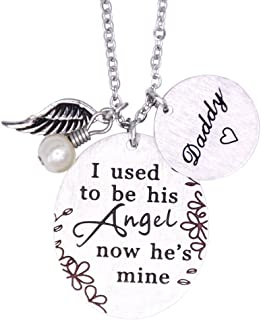 Memorial Necklace I Used to Be His Angel Now He's Mine Necklace/Bracelet Daddy, in Memory of Loved One Dad