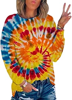 GAGA Women Casual Tie Dye Print Round Neck Long Sleeve Color Block Loose Pullover Sweatshirt Blouse