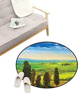 Nature Baby Room Decor Round Carpets ,Rural Sunset in Italy Countryside with Trees Fresh Meadows and Clear Sky Image Print, Print Custom Floor mats 39