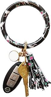 Tovly Wristlet Round Key Ring Chain Leather/Silicone Oversized Bracelet Bangle Keychain Holder Tassel for Women Girl