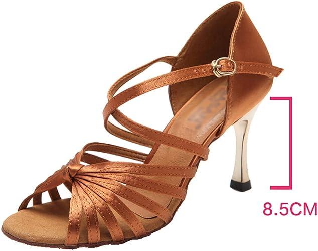 XIAOY Satin Open Toe Chaussure de Danse Latine Femme Sandale Noir Milieu Haute Talon Cross Sangle