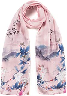 HZWSilk Scarf for Women's, Ladies Lightweight Fashion Scarves Printed Soft Kin-Friendly Fabric Neckerchief Luxurious Touch to Any Outfit Neckerchief Shawl Length 175CM Width 55CM