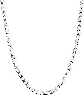 Miabella 925 Sterling Silver Italian Sparkle Mirror Link Chain Necklace for Women Teen Girls, 13