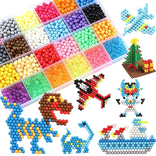 MEIRUIER 3800 Perlas Regalo Chico Chica Niños DIY Educativos Artesanía Craft Kits Abalorios Cuentas de Agua Kit Abalorios 24 Colors(6 Jewel)