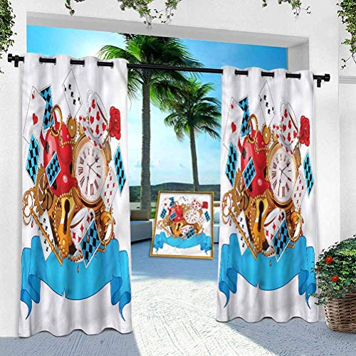 Aishare Store Indoor Outdoor Curtains, Alice in Wonderland,Fantasy World, 52' x 108' Outdoor Pergola Curtains Patio Blackout Drapery for Front Porch/Sunroom(1 Panel)