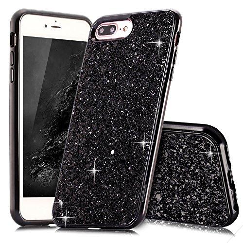 Coque iPhone 8 Plus Argent Coque Slynmax Silicone Paillette Strass Brillante Bling Glitter de Luxe Bumper Housse Etui de Protection [Fin] [Anti Choc] pour Apple iPhone 7 Plus Glamour