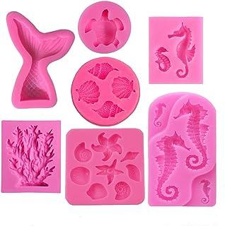 Mermaid Theme Cake Silicone Molds - Mermaid Tail Seahorse Starfish Seashell Coral Conch Sea Turtles Mold for Marine Theme ...
