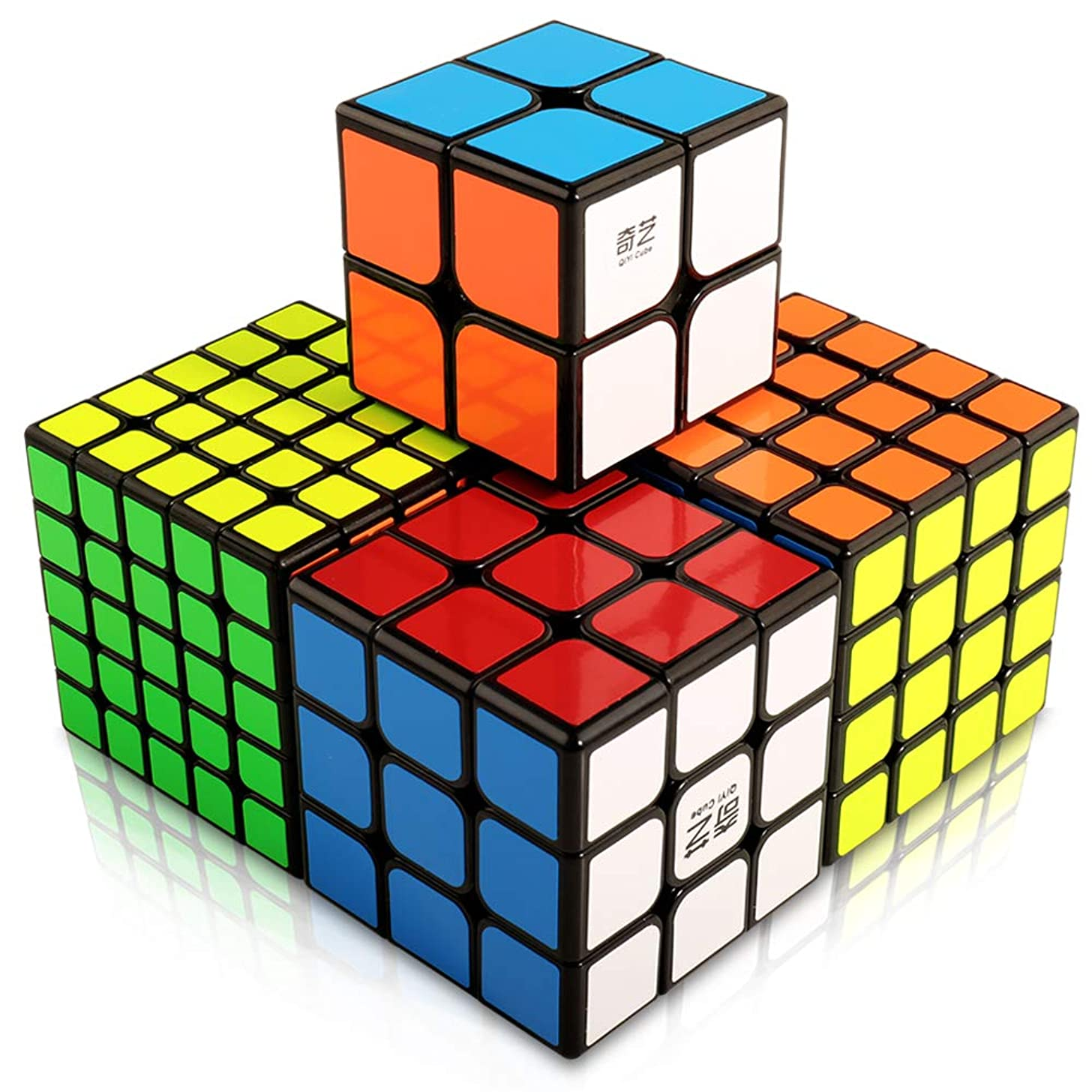 HQQNUO Speed Cube Set Cube Bundle 2x2 3x3 4x4 5x5 Vivid Color Sticker Magic Cube Set Puzzle Toys for Kids and Adults (Set of 4)