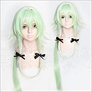 Anime Light Green Cosplay Wig 100cm Long Ponytail with Black Bow Women Girls' Party Wigs for Halloween Christmas
