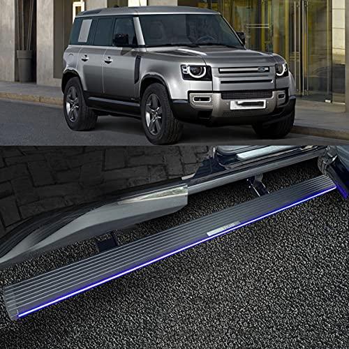 BrightFootBook Elektrisches Pedal für 2021 Land Ro-ver Defender, Aluminium-Automatik-Trittbrett Power Side Step Deployable,with-Light