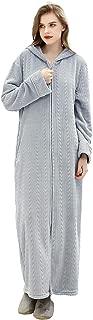 Women Robe Hooded Zipper Front Soft Warm Long Bathrobe Sleepwear Winter Robes