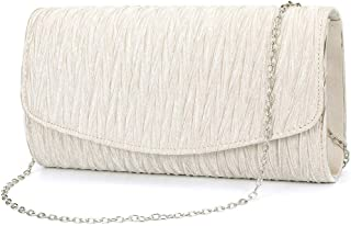 ZIUMUDY Womens Satin Pleated Evening Bags Party Clutches Bridal Shoulder Chain Handbags