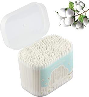 Q tips Cotton Swabs, 300 Count, 3.5in, with Storage Box, Advanced Baper Stick Makeup Round Head and Pointed Head Combined Baper Stick, Suitable for Licking Ears, Disposable Cleaning Remover Q Tips