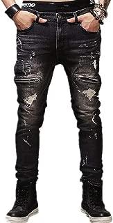 AOWOFS Men's Ripped Distressed Jeans Biker Moto Denim Fashion Tapered Leg Slim Fit Zipper Pants