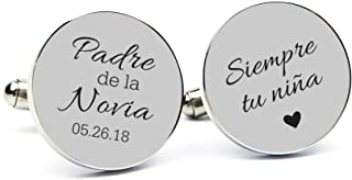 Personalized 925 Sterling Silver Cufflinks Spanish Engraved Father of The Bride Custom Made with Any Date