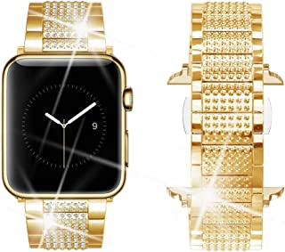Dassions Band for Apple Watch Diamond Band, Rhinestone Luxury Diamond Stainless Steel Replacement Bands for Apple Watch 42mm 44mm Series 5 Series 4 Series 3 Series 2 Series 1 (Gold, 42/44mm)