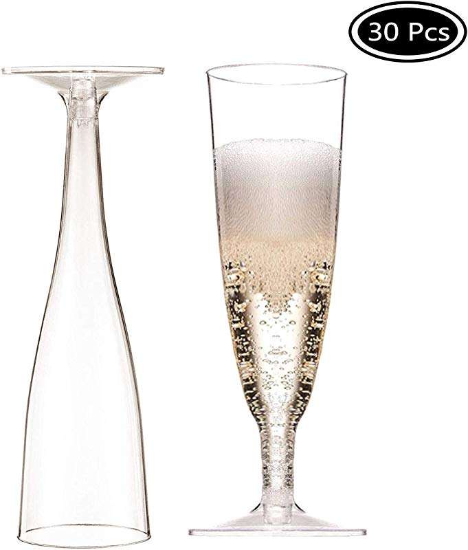 Faxco 30 Pcs 4oz Plastic Champagne Flutes Clear Hard Disposable Party Wedding Champagne Cups Easy Store Assembled Champagne Flutes For Wedding Party Toasting Mimosa Or Cocktails
