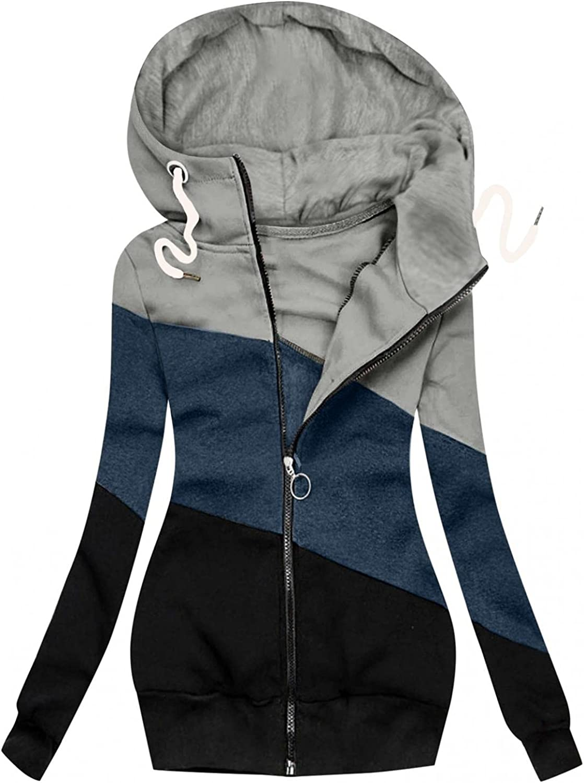 callcarl Hoodies for Women Patchwork Tunic Sweatshirt Lightweigh