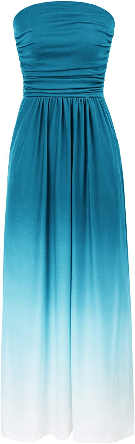 GRACE KARIN Women Strapless Casual Loose Ruched Long Maxi Dress with Pockets