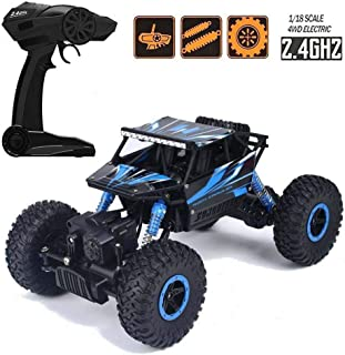 Negi 1:18 Rechargeable Rock Crawling 4WD 2.4 Ghz 4x4 Rally Car Remote Control Monster Truck Kids Play Toys (Blue)