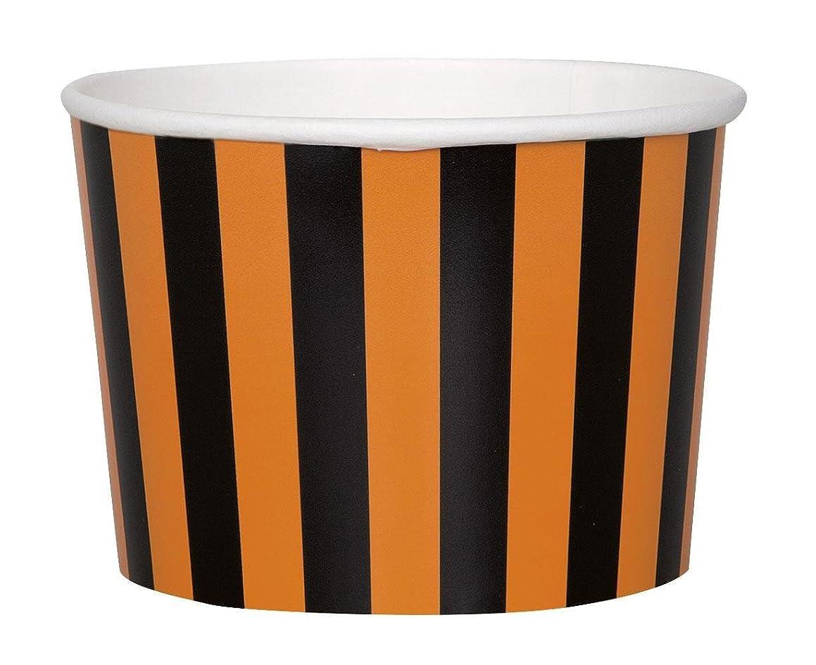 9oz Orange & Black Striped Halloween Paper Ice Cream Cups, 8ct