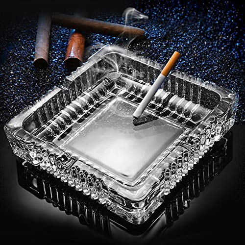 Ashtray , Large Glass Ashtray for cigarette cigar , Clear Crystal Ash trays Outdoor Glass Spuare Ashtrays (7x7inch)